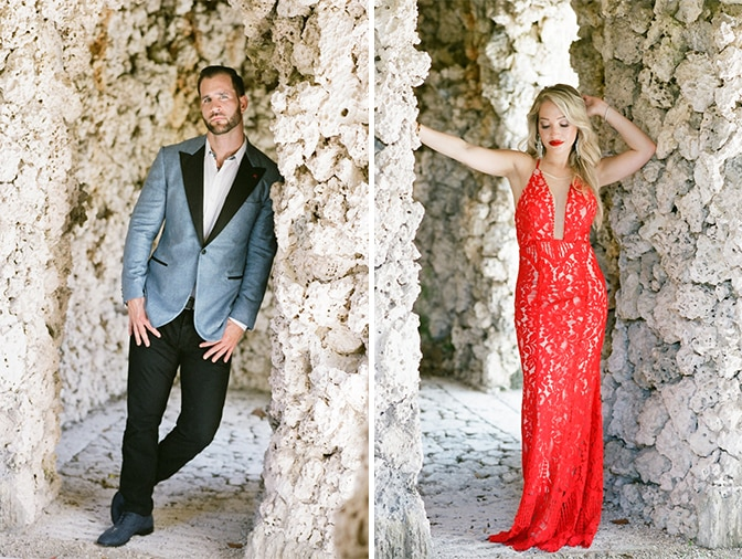 Fashionable couple standing next to each other during their engagement at Vizcaya Museum and Gardens in Miami