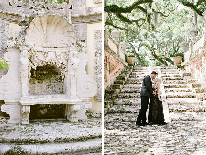 Engaged couple kissing each other on the base of the stairs at Vizcaya Museum and Gardens in Miami
