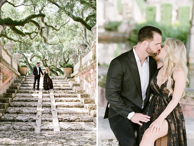 Bride and groom kissing each other at Vizcaya Museum and Gardens in Miami