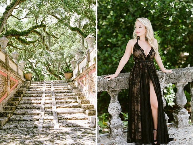 Bride in her black couture gown leaning on a gorgeous wall at Vizcaya Museum and Gardens in Miami