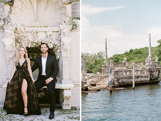 Engaged couple sitting on a gorgeous stone throne at Vizcaya Museum and Gardens in Miami