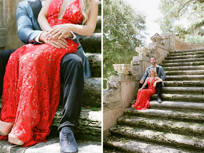 Bride and groom sitting on the stairs at Vizcaya Museum and Gardens in Miami Florida