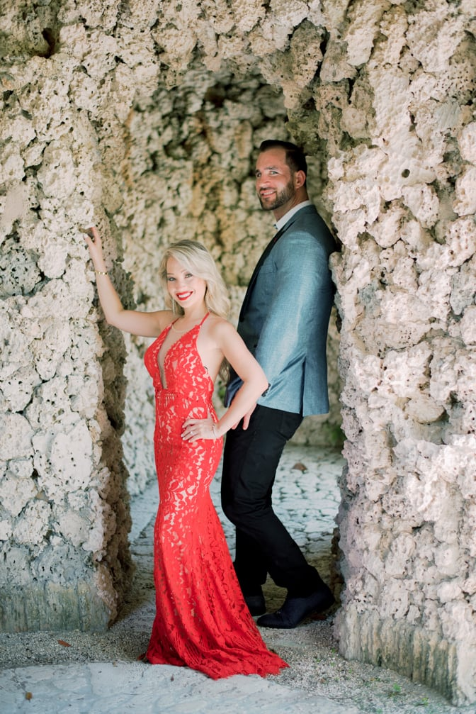 Vizcaya Museum and Gardens engagement session with fashionable couple