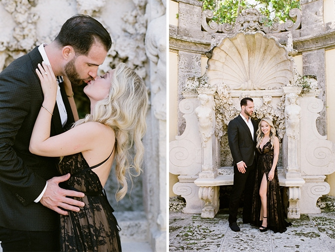 Engaged couple kissing each other in their fashionable couture outfits in the Vizcaya Museum and Gardens in Miami