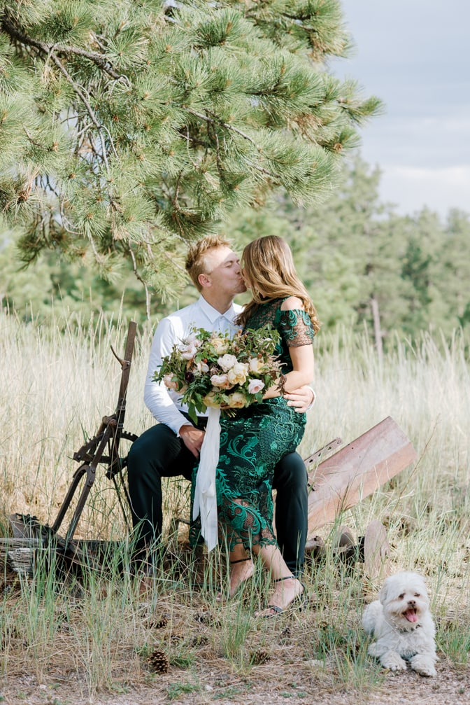Engaged couple kissing during their Colorado Springs engagement session
