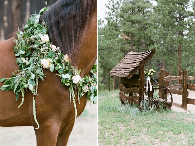 Colorado engagement session with horses and ranches