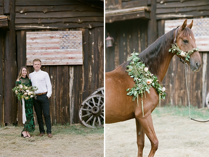Closeup of a flower wreath wrapped around a horse's neck for a Colorado engagement session
