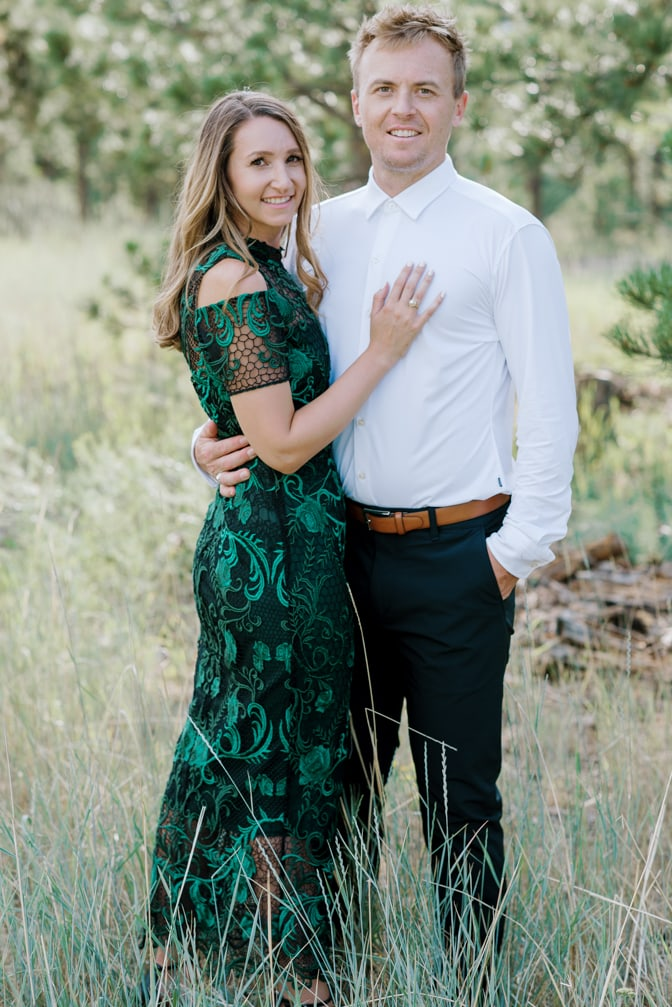 Bride and groom to be hugging each other for Colorado Wedding Photographer Tamara Gruner