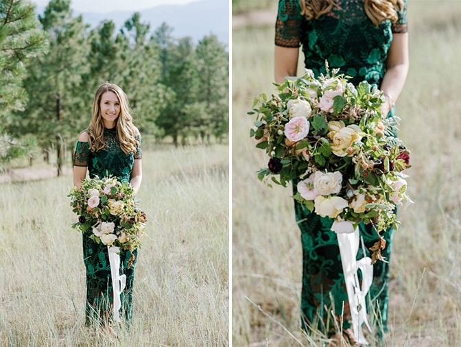 Bride to be wearing a Marchesa lace dress and holding an organic blush bouquet