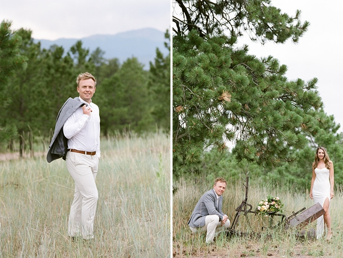Groom to be standing on his private ranch for his Colorado engagement session