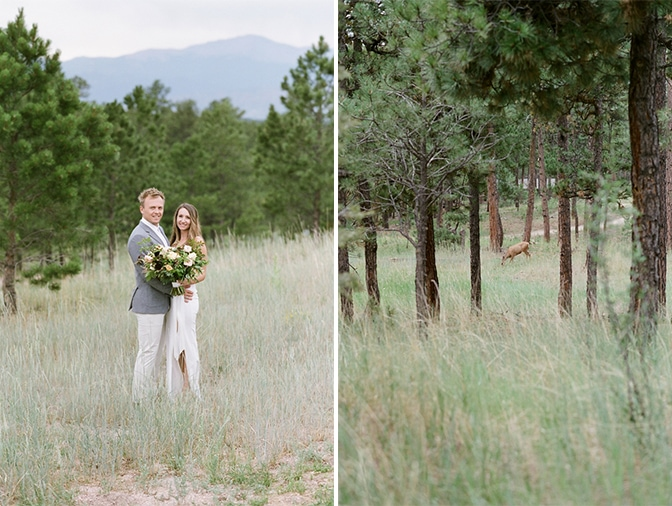 Engaged couple hugging during their Colorado engagement session in summer