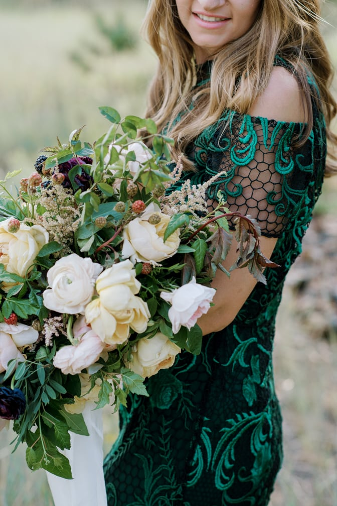 Closeup of an organic wedding bouquet from Layers of Lovely in Colorado
