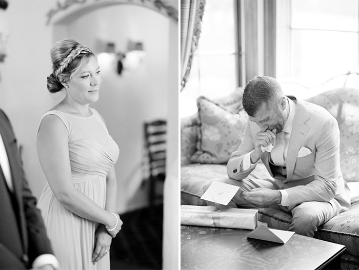 Groom crying while reading the love letter of his bride in Colorado