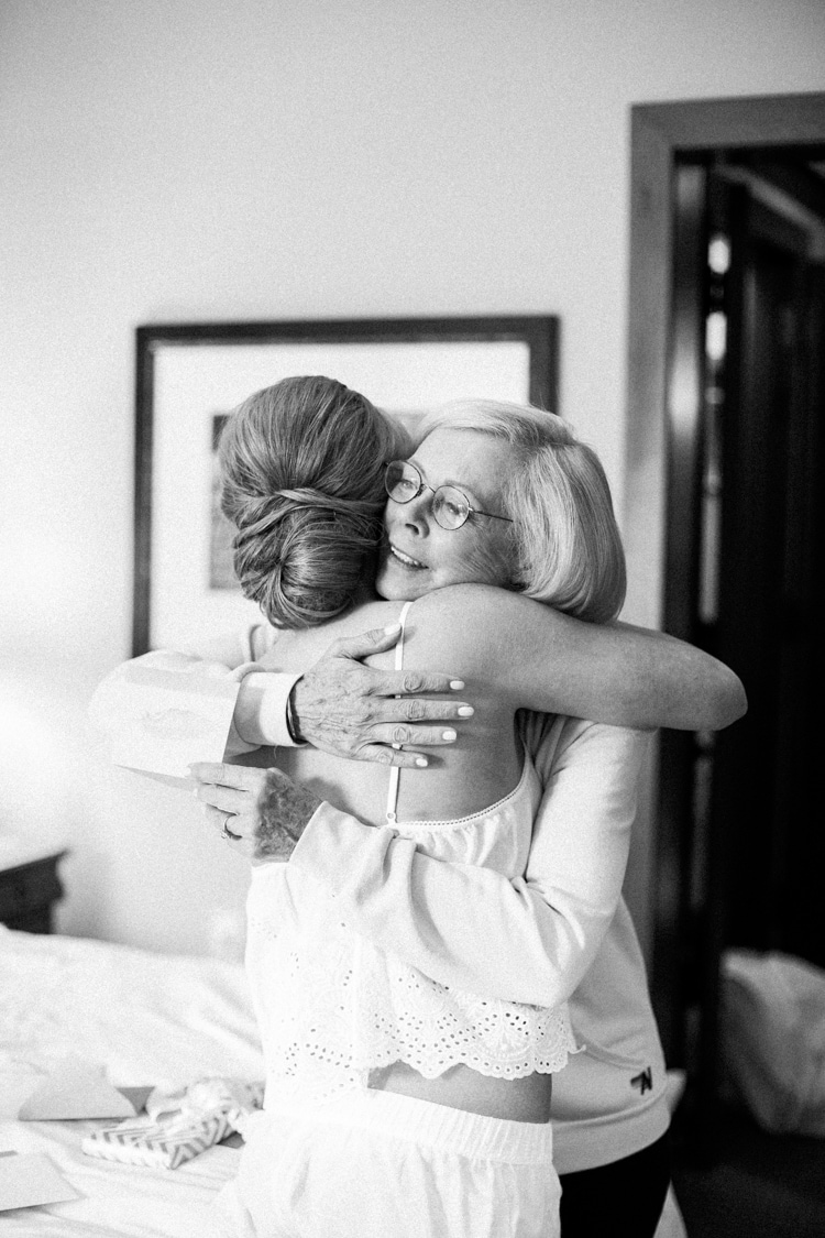 Bride embracing her mother during getting ready at Four Seasons in Vail