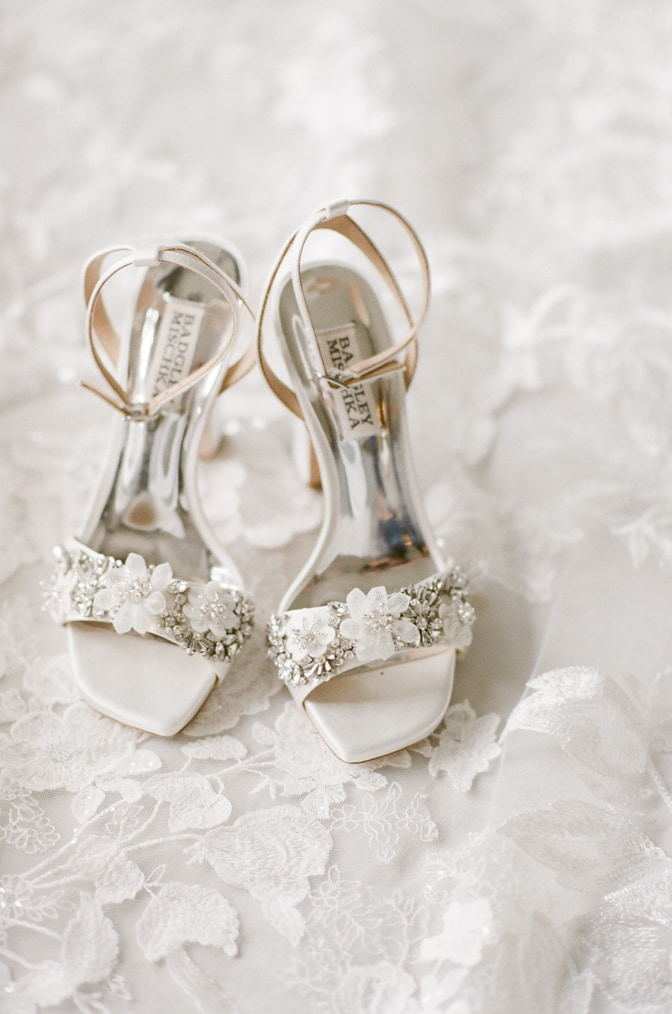 White Badgley Mischka shoes adorned with tulle florals at Four Seasons Vail