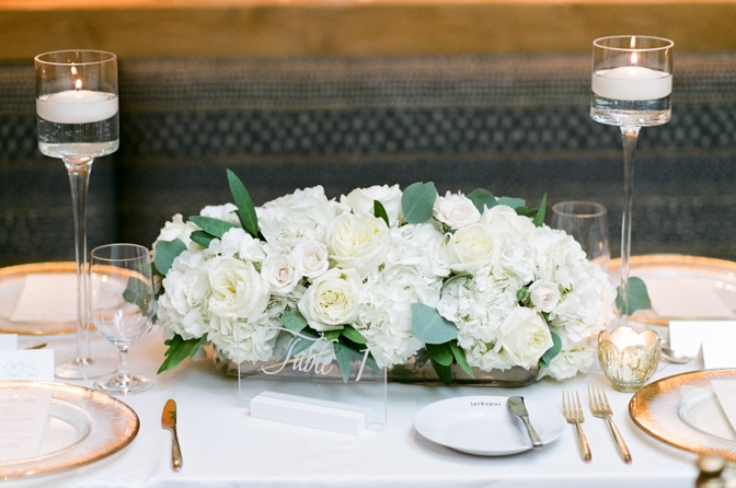 Vail wedding reception floral centerpiece at Larkspur events and dining