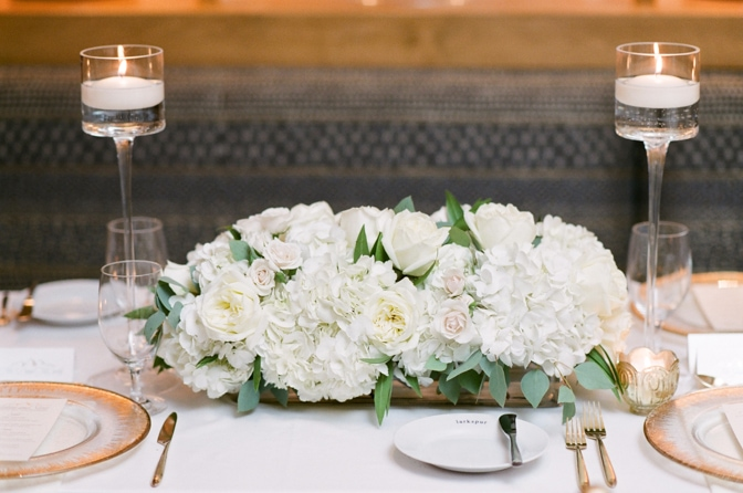Reception centerpiece at Larkspur events and dining in Vail