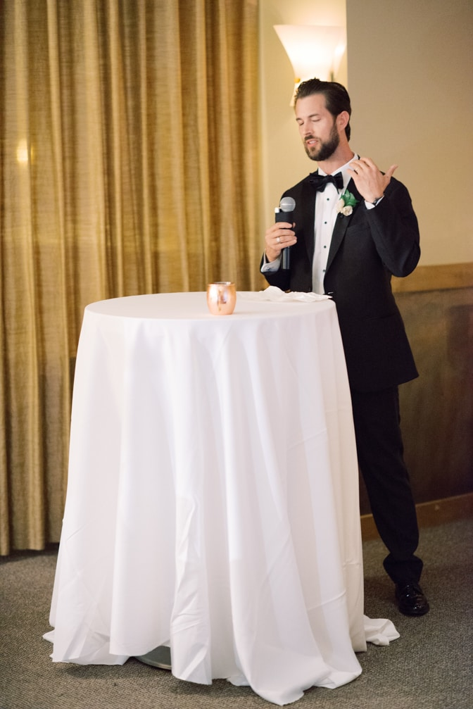 Best man giving speech at Larkspur events and dining wedding reception in Vail