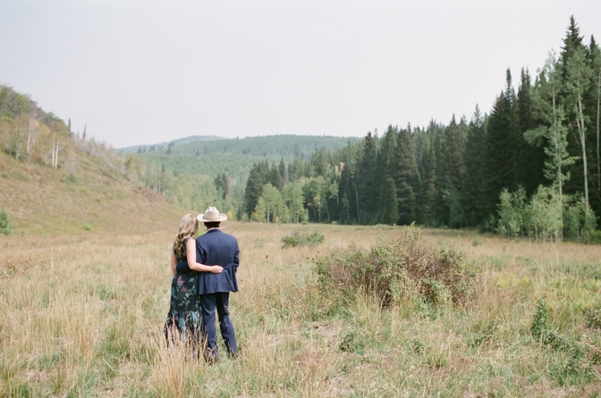 Bride and groom enjoying the mountain views during their Aspen engagement session