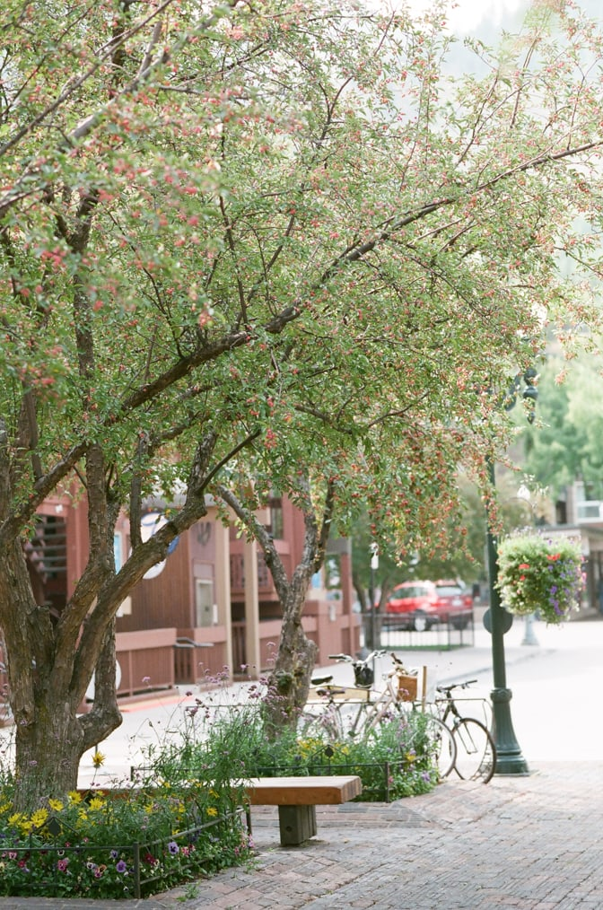 Aspen town during Aspen fall engagement session