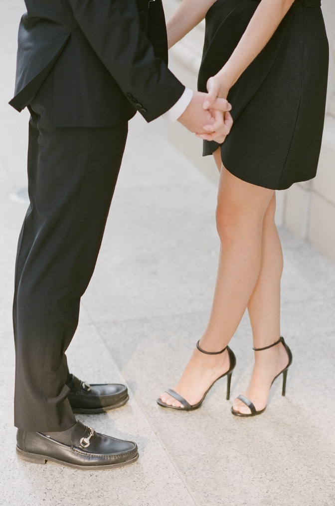 Closeup of shoes of bride and groom during Chicago engagement