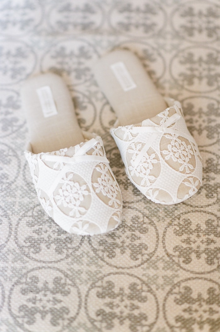 Closeup of lace slippers