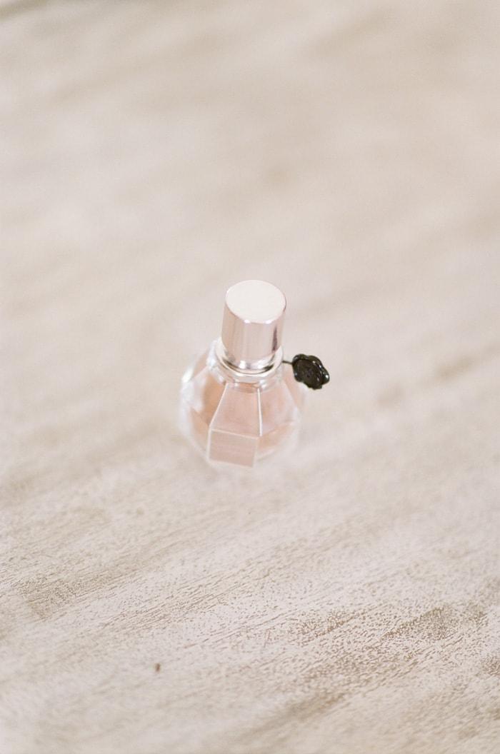 Closeup of blush perfume bottle