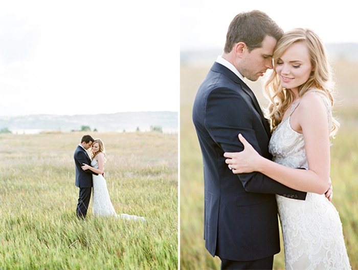Bride and groom embracing each other at their Colorado elopement