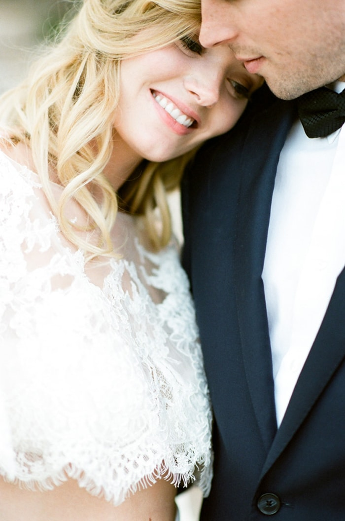 Closeup of bride and groom smiling