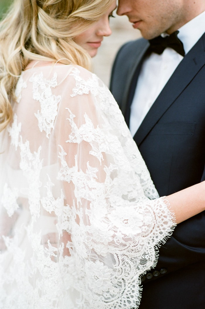 Closeup of lace sleeve from Claire Pettibone