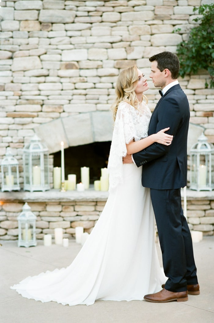 Bride and groom dancing outdoors at their Colorado wedding day