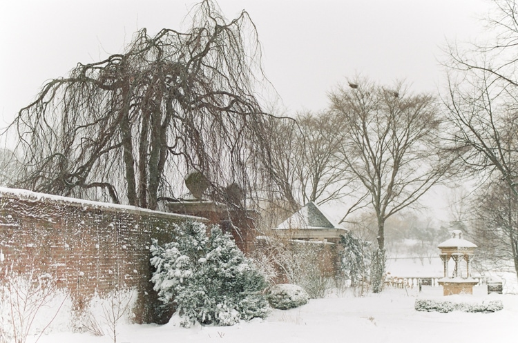 English Walled Garden covered in snow