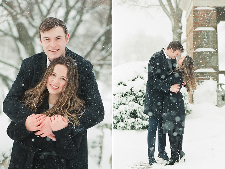 Chicago snow engagement session