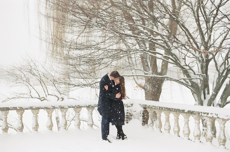 Snow winter engagement in Chicago