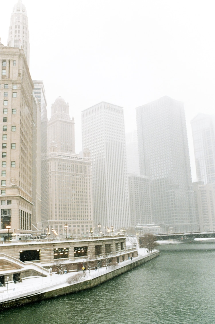 Downtown Chicago in snow