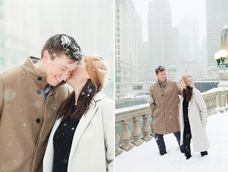 Engaged couple walking around Wrigley Building during their winter engagement
