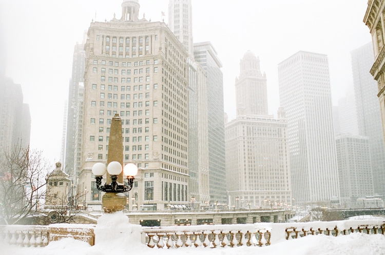 Wrigley Building during snowfall