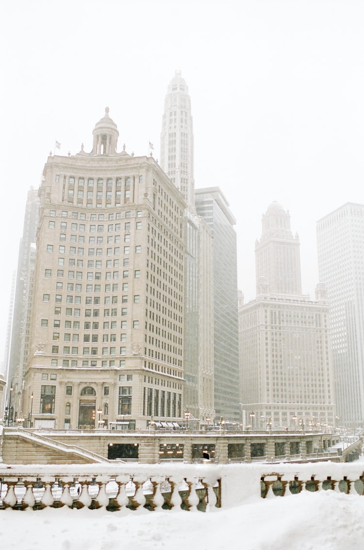 Chicago downtown buildings in snow