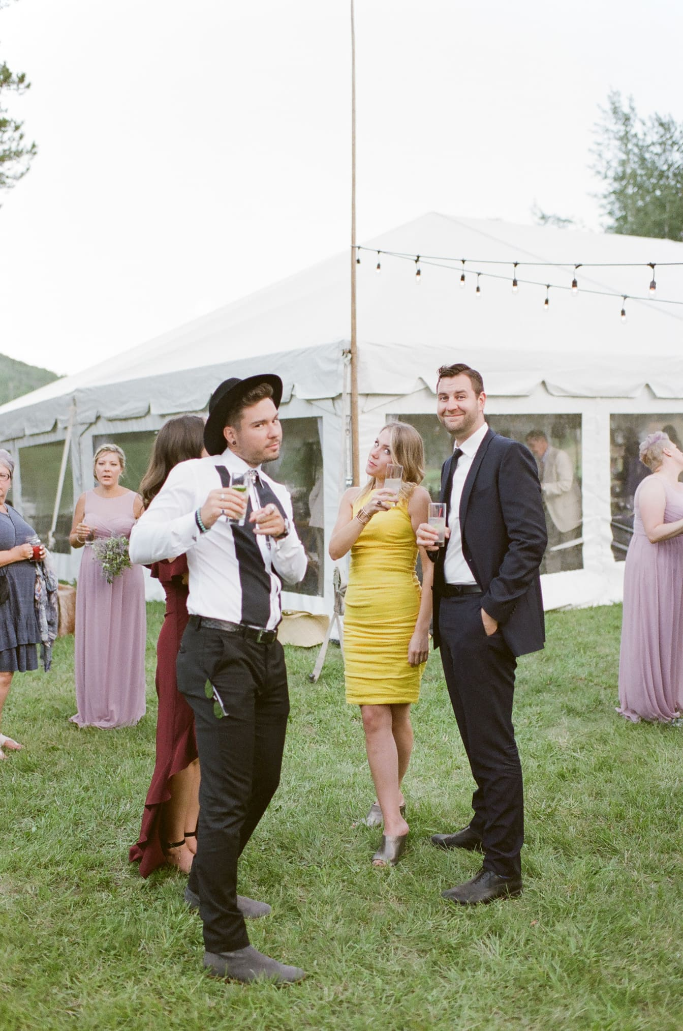 Wedding guests interacting with wedding photographer Tamara Gruner
