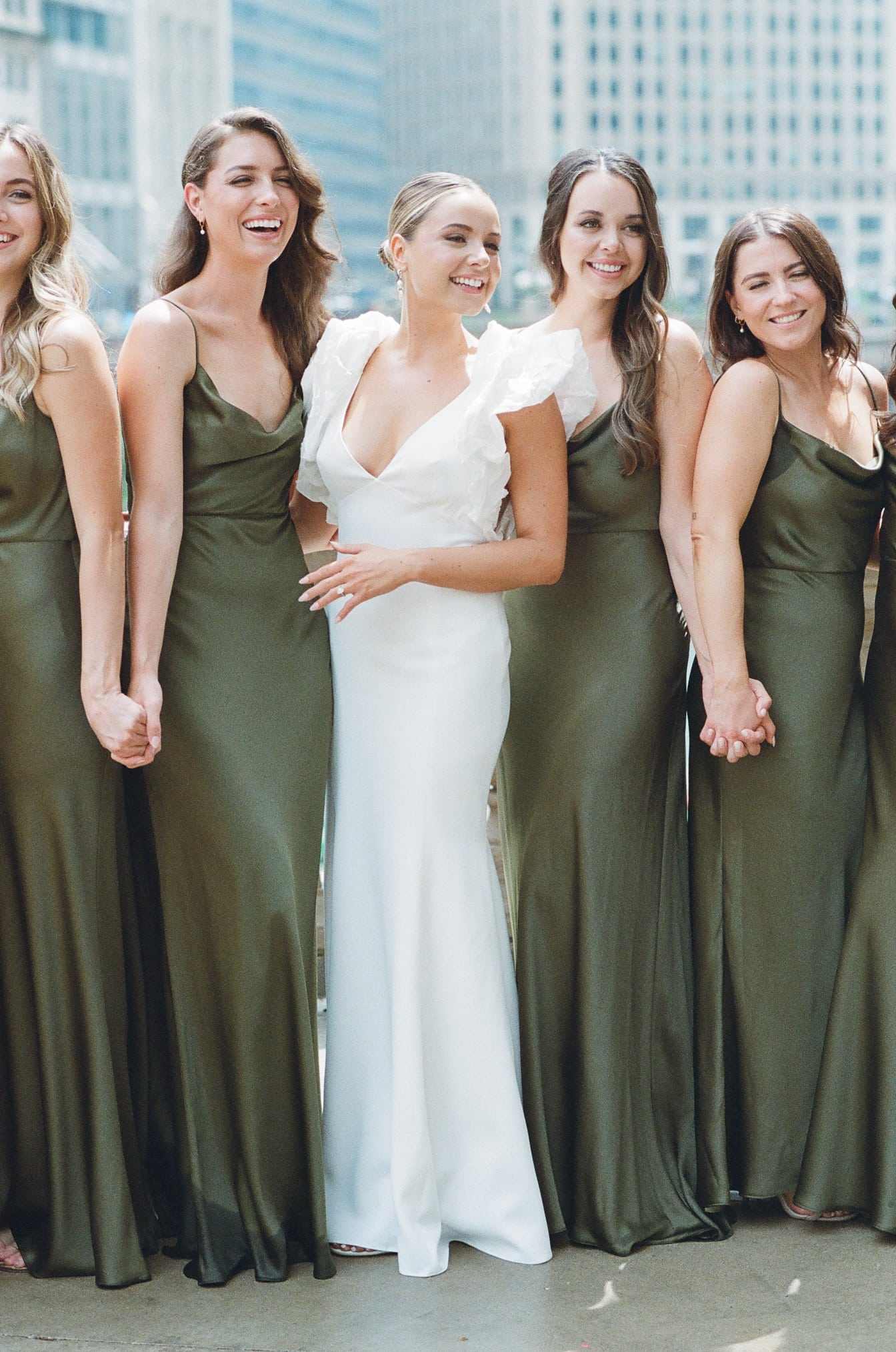 Bride with her bridesmaids at Chicago Wedding