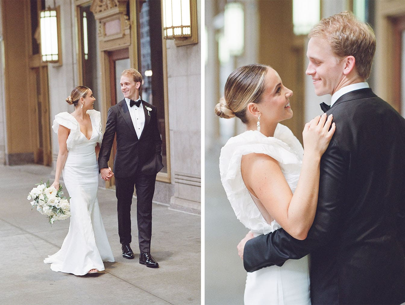 Bride and groom walking at Lyric Opera House in Chicago
