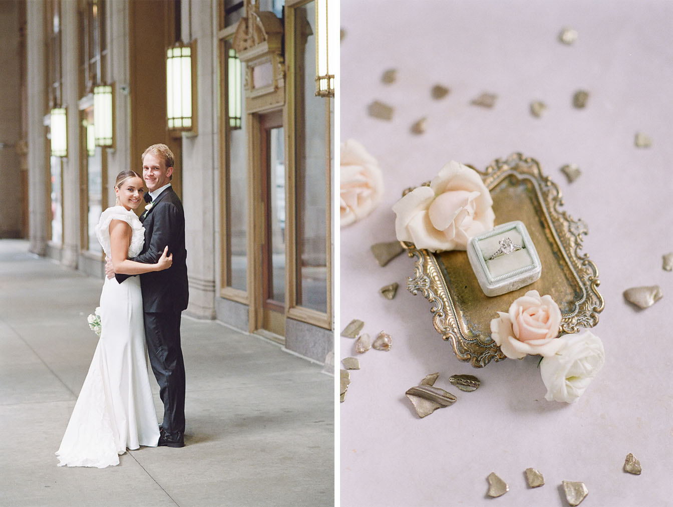 Engagement ring placed into Mrs Box on gold tray