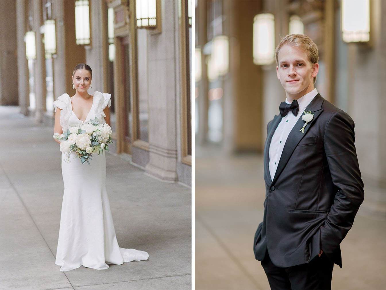 Portraits of bride and groom at Lyric Opera House
