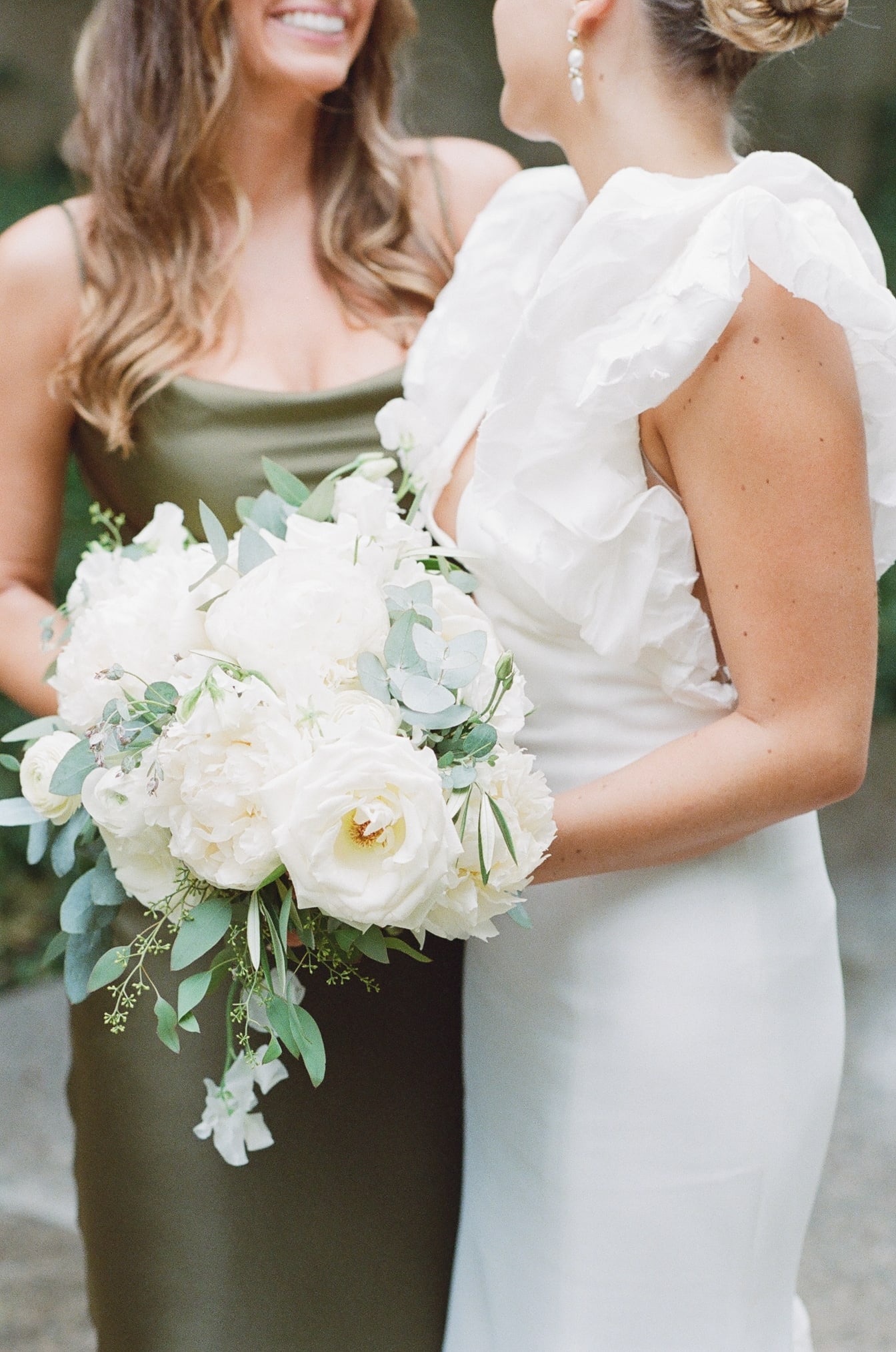 Closeup of white and green bouquets