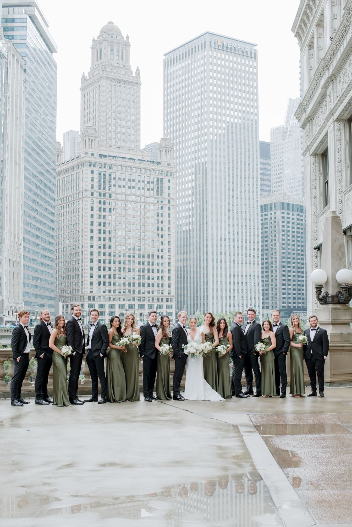 Wedding Party cheering at Wrigley Building