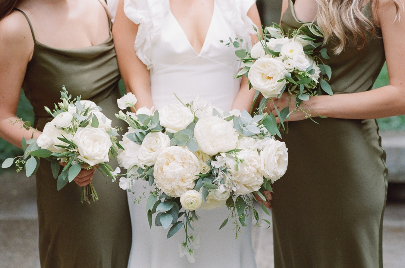 Closeup of wedding bouquet in white and green