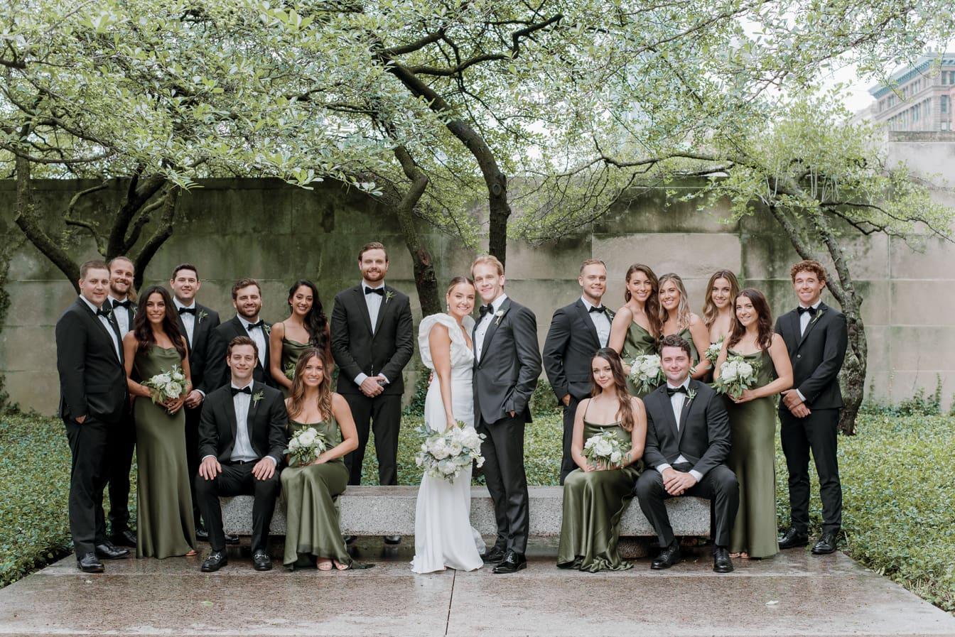 Wedding Party at Chicago Art Institute Garden