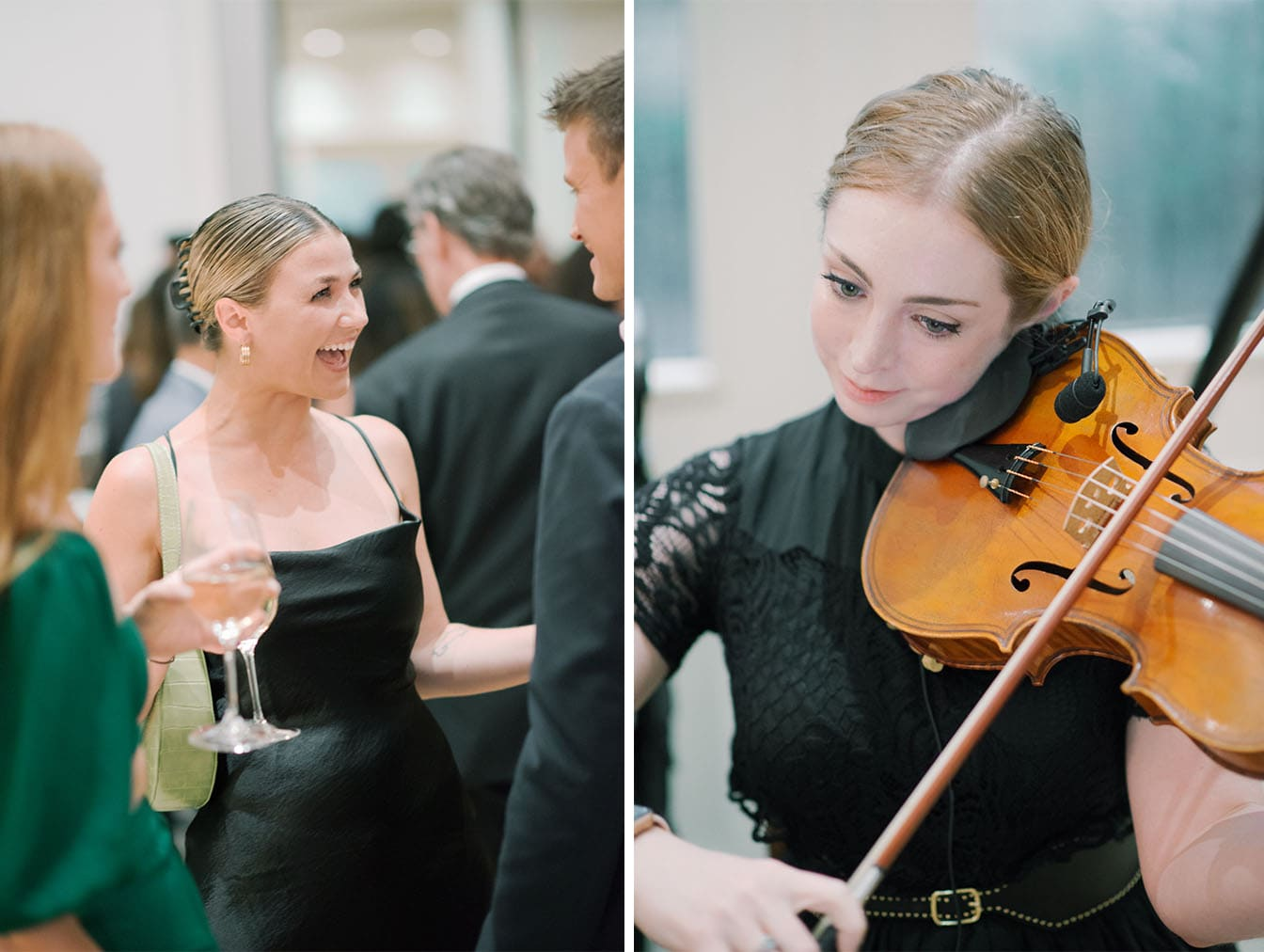 Musician playing the violin during cocktail hour