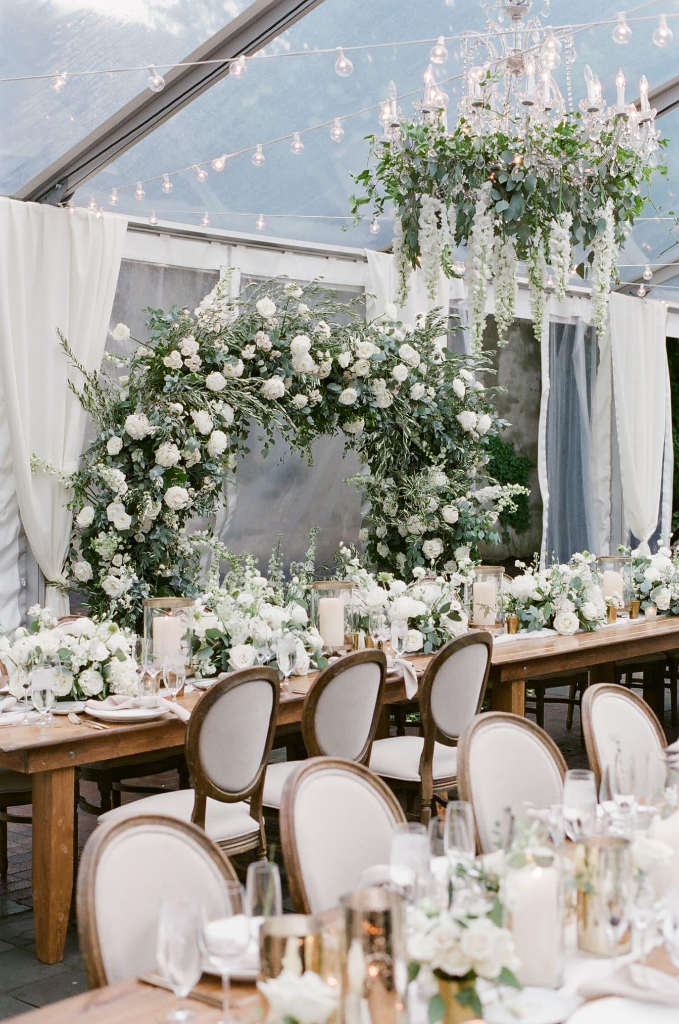 Floral decor at wedding reception at Chicago Illuminating Company