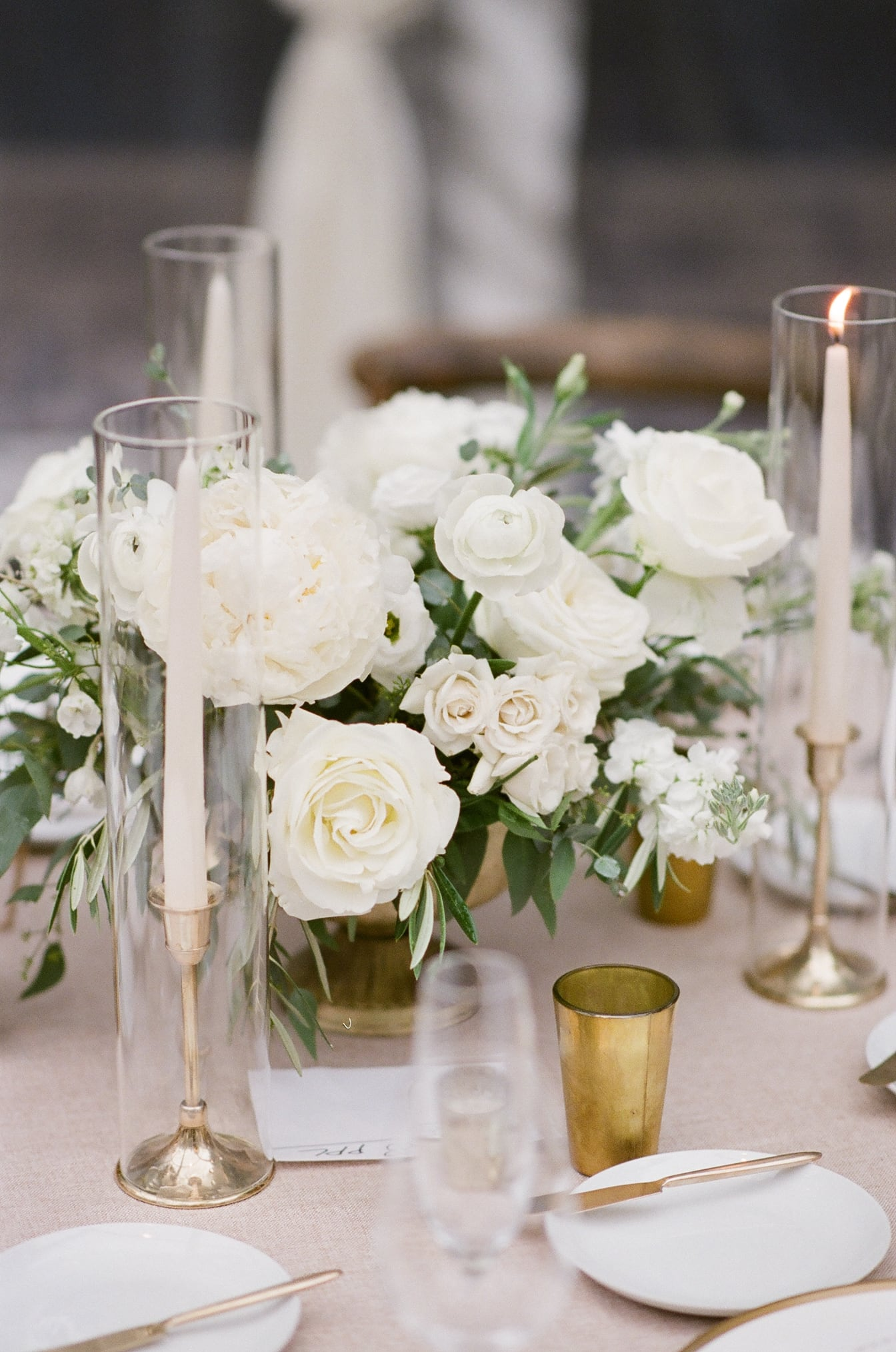 Floral centerpiece in whites and greens